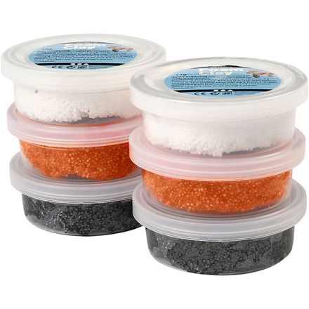 Foam clay , wit,oranje,zwart,Halloween,6x14gr